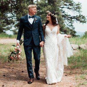 BHLDN Sheridan Ivory Lace Train Boho Wedding Dress